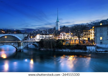 A view of the lower end of old town Bern, Switzerland in the evening. - stock photo
