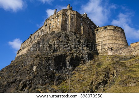 A view of the magnificent Edinburgh Castle from Johnston Terrace in Edinburgh, Scotland. - stock photo