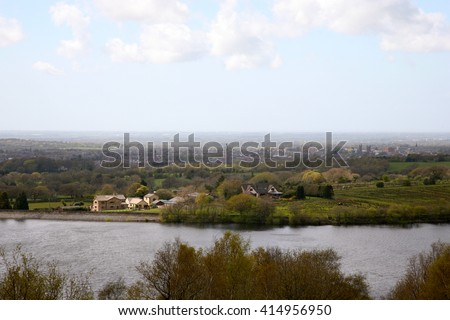 A view of the market town of Chorley in Lancashire from a hillside on the West Pennine Moors