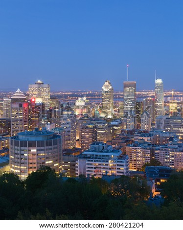 A view of the Montreal Skyline at Dusk