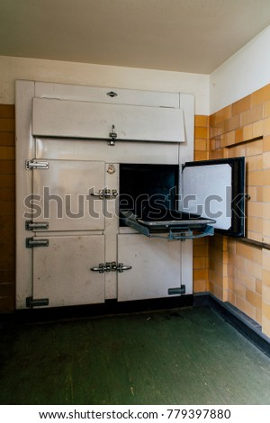 A view of the morgue at the abandoned Laurelton State School and Hospital in the central mountains of Pennsylvania.