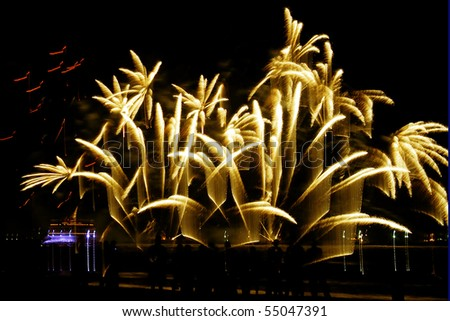 A view of the new year's eve fireworks - stock photo