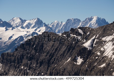 A view of the North east face of Aiguille Verte, a peak near Chamonix in the French alps.