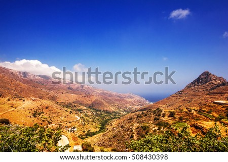 A view of the Northern rural part of Naxos island, Greece
