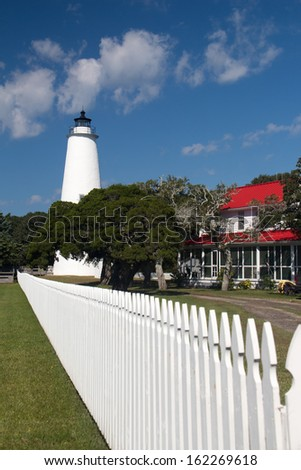 A view of the Ocracoke Light on Ocracoke Island which is part of the Outer Banks