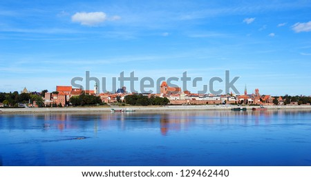 A view of the panorama of the Old Torun, Poland - stock photo