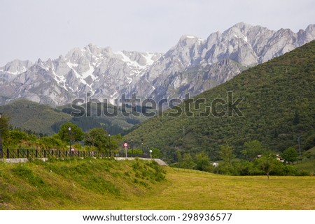A view of the peaks in Picos de Europa National Park of Spain