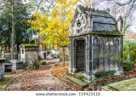A view of the Pere Lachaise, the most famous cemetery with the tombs of very famous people - stock photo