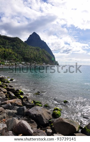 A view of the Pitons from Soufriere in St Lucia - stock photo