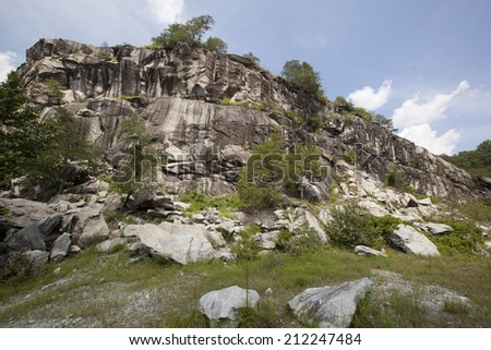 A view of the rocky cliffs at Rocky Face Mountain in North Carolina. - stock photo