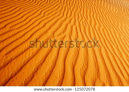 A view of the rolling sand dunes of the Arabian desert - stock photo