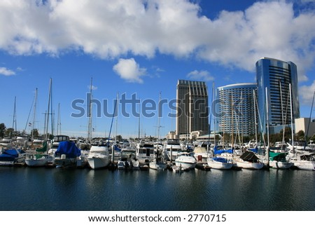 A view of the San Diego harbor and East Side skyline near the Convention Center.