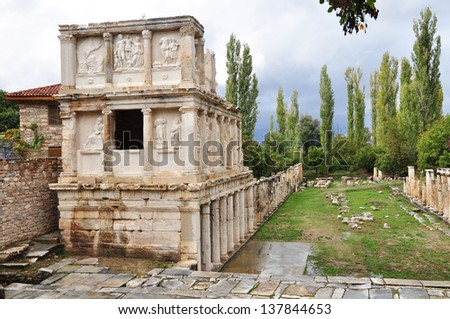 A view of the Seabastion Temple dedicated to the cult of Augustus. The temple was a 3 level building rich in lifesize statues of Gods and Heroes. The building was reduced to rubble by an earthquake.