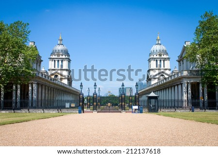 A view of the Sir Christopher Wren designed Old Royal Naval College looking towards the River Thames in Greenwich, London. - stock photo