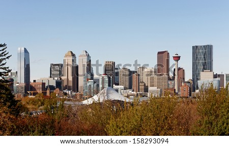 A view of the skyline of Calgary, Alberta. - stock photo