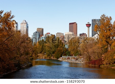 A view of the skyline of Calgary, Alberta on a beautiful autumn day. - stock photo