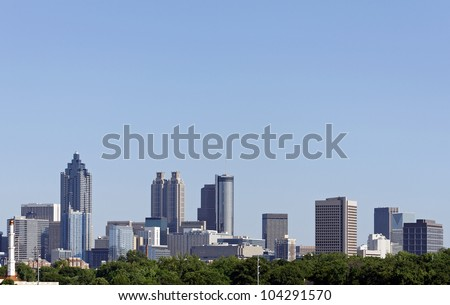 A view of the skyline of downtown Atlanta, Georgia. - stock photo
