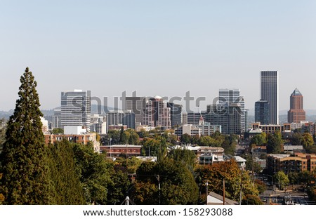 A view of the skyline of Portland, Oregon.
