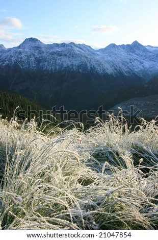 A view of the Spearhead Range on a cold summer morning. Garibaldi Provincial Park, British Columbia, Canada. - stock photo
