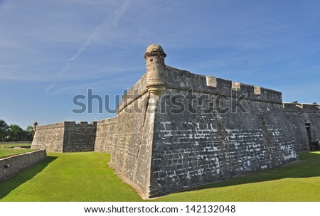 A view of the strong defense structure of the fort in St Augustine, Florida. The fort Castillo de San Marcos is a National Monument