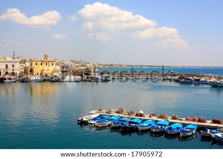 A view of the town of Gallipoli in Apulia, Italy - stock photo