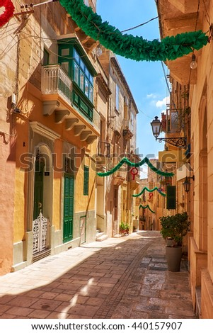 A view of the typical small street (Saint Dominic), decorated to the holiday, Birgu, Malta