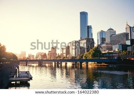 A view of the Yarra River, Melbourne, Victoria, Australia - stock photo