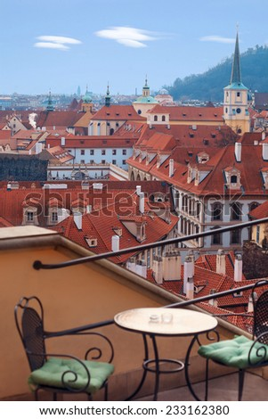 A view of traditional european old city red roofs - stock photo