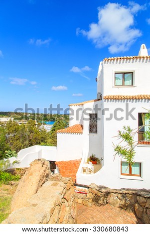 A view of traditional white houses in Porto Cervo, Sardinia