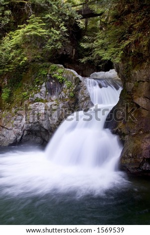 A view of Twin Falls, Lynn Canyon Park, North Vancouver, BC, Canada.