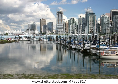 A view of Vancouver Stanley park boathouse. - stock photo