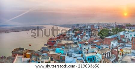 A view of Varanasi and ganga river - stock photo