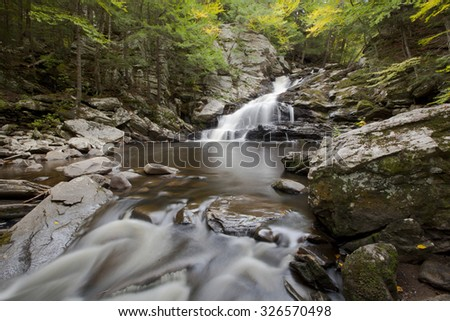A view of Wahconah Falls Brook in the Berkshire Mountains of western Massachusetts. - stock photo