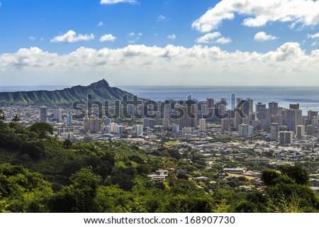 A view of Waikiki and Diamond Head as seen from Tantalus in the Koolau Mountain Range on Oahu, Hawaii - stock photo