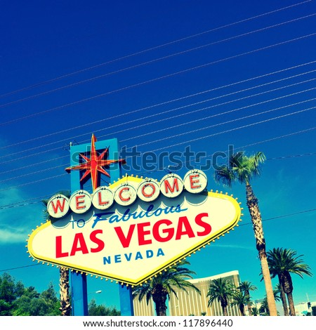 A view of Welcome to Fabulous Las Vegas sign in Las Vegas Strip - stock photo