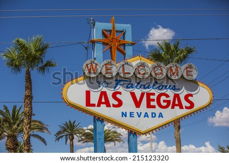 A view of Welcome to Fabulous Las Vegas sign in Las Vegas Strip at day time - stock photo