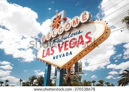 A view of Welcome to Fabulous Las Vegas sign in Las Vegas Strip on the blue sky in summer day - stock photo