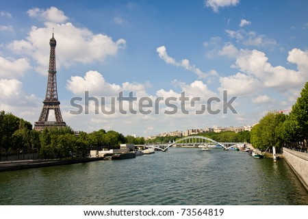 A view on the Eiffel Tower and the Seine river during daytime, Paris, France - stock photo