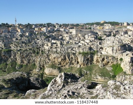 A view on the historic city Matera with the Canyon of Matera  in Basilicata in Italy