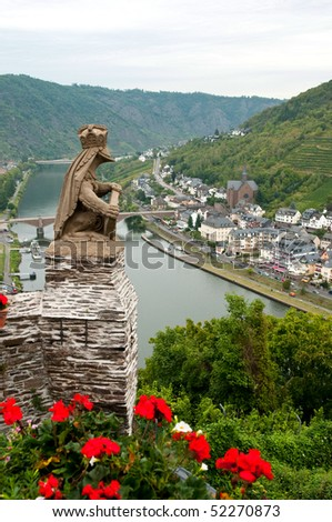 a view on the mosel from cochem castle - stock photo
