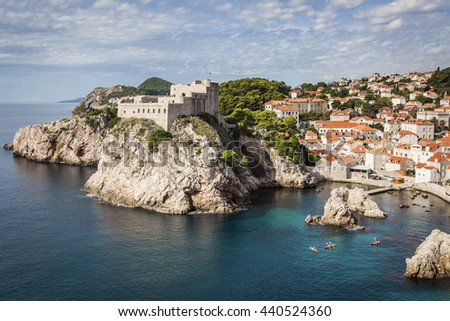A view on The old town of Dubrovnik, unesco world heritage, Croatia - stock photo