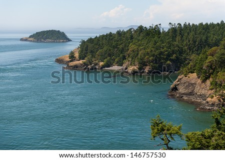 A view out into the San Juan Islands in northern Washington - stock photo