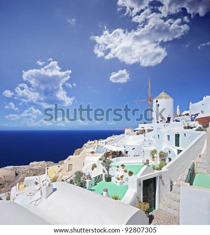 A view over a village on Santorini island, Greece - stock photo