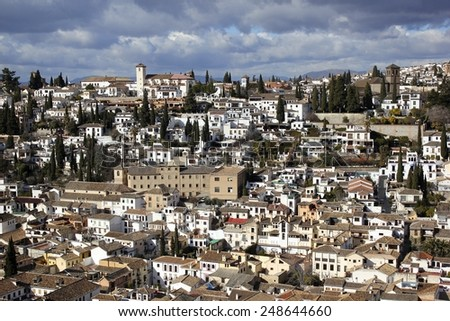 A view over Granada in Andalusia in Spain from the Alhambra Palace - stock photo
