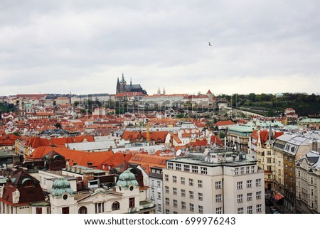 A view over red roofs and a bird flying over Prague old town and Prague Castle from St. Nicholas Church on the Main Square on a cloudy day in Prague, Czech Republic