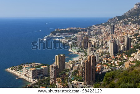 a view over the harbour of monaco - stock photo