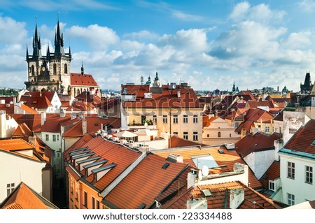 A view to the Church of Virgin Maria Before Tyn and rooftops of Old Prague