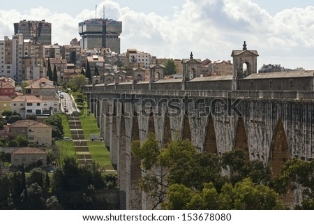 A view to The Lisbon aqueduct - stock photo