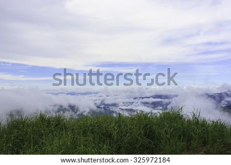 A viewpoint and blue sky. - stock photo