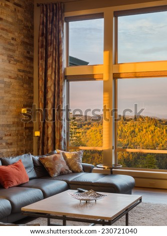 A vignette of living room in luxury home - stock photo